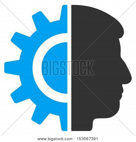 Android Robotics glyph pictogram. Style is flat graphic bicolor symbol, blue and gray colors, white background.