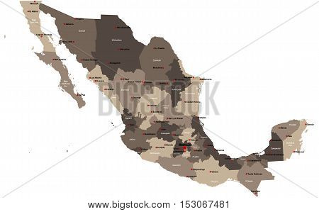 Large and detailed map of Mexico with regions and main cities.