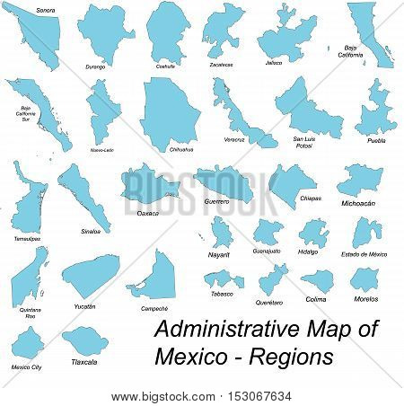 All large and detailed regions of Mexico.