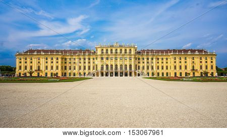 VIENNA AUSTRIA - JULY 12: Former Habsburg monarchy castle Schoenbrunn a Unesco World Heritage site preferred tourist attraction and recreational park
