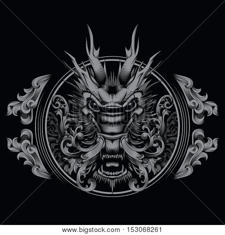 T-shirt Design Tattoo Chinese Mythical Zodiac Creature Filigree Swirl Dragon