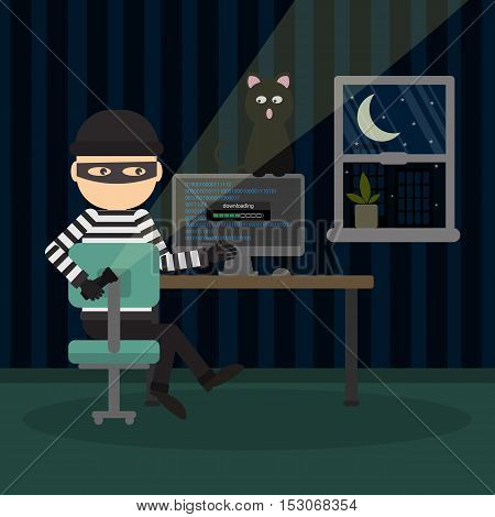 Robber at the office. Bad thief downloading information from computer at night. Man in the black mask and striped outfit.