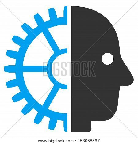 Cyborg Head glyph pictograph. Style is flat graphic bicolor symbol, blue and gray colors, white background.
