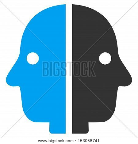 Dual Face glyph pictogram. Style is flat graphic bicolor symbol, blue and gray colors, white background.