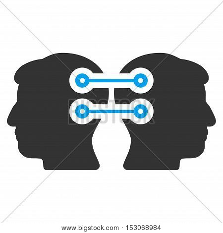 Dual Heads Interface Connection glyph pictogram. Style is flat graphic bicolor symbol, blue and gray colors, white background.
