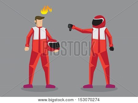 Cartoon car racer giving competitor a thumbs down. Vector cartoon illustration on offensive insult and putting down competitor concept isolated on grey background.