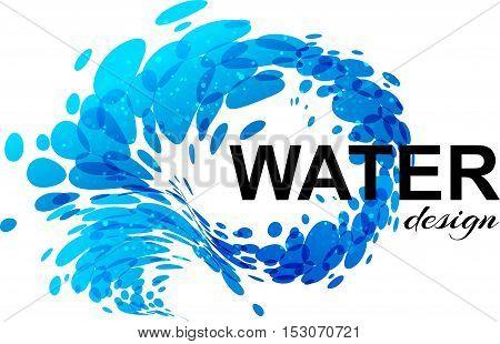 Splash water design element on white background