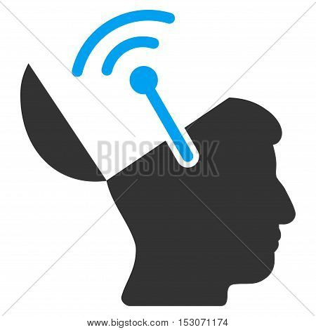 Open Brain Radio Interface glyph icon. Style is flat graphic bicolor symbol, blue and gray colors, white background.