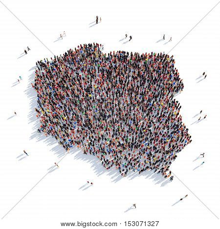 Large and creative group of people gathered together in the form of a map Poland, a map of the world. 3D illustration, isolated against a white background. 3D-rendering.