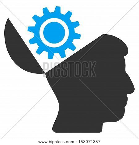 Open Head Gear glyph pictograph. Style is flat graphic bicolor symbol, blue and gray colors, white background.
