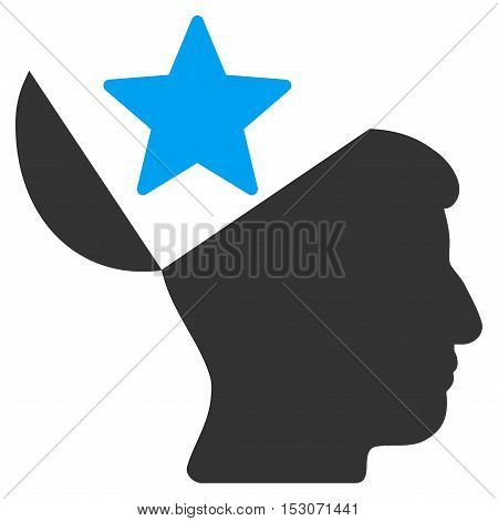 Open Head Star glyph icon. Style is flat graphic bicolor symbol, blue and gray colors, white background.