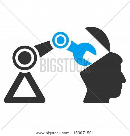 Open Head Surgery Manipulator glyph pictogram. Style is flat graphic bicolor symbol, blue and gray colors, white background.