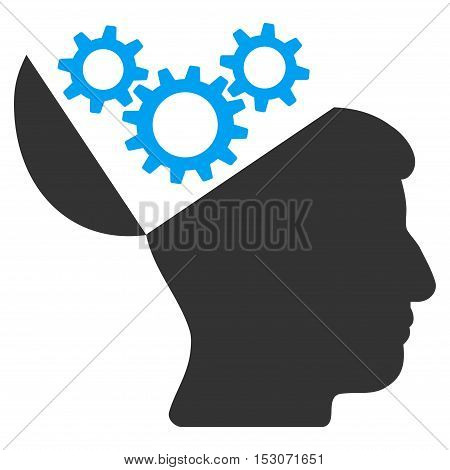 Open Mind Gears glyph pictogram. Style is flat graphic bicolor symbol, blue and gray colors, white background.