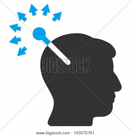 Optical Neural Interface glyph pictograph. Style is flat graphic bicolor symbol, blue and gray colors, white background.