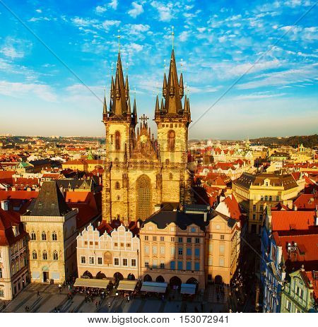 Old Town Square with Church of Our Lady before Tyn in eastern european Czech capital Prague - panoramic sunny view from Town Hall