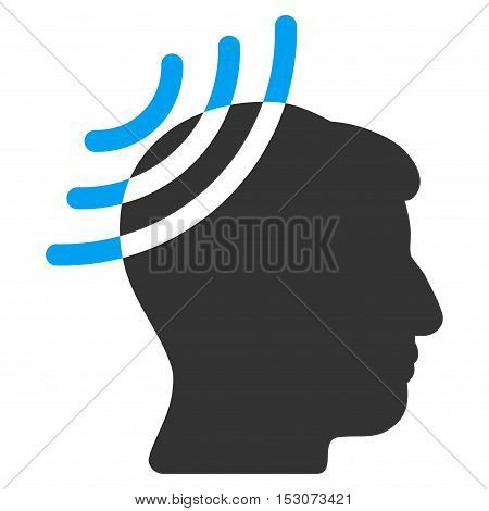 Radio Reception Head glyph icon. Style is flat graphic bicolor symbol, blue and gray colors, white background.