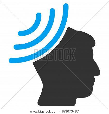 Radio Reception Mind glyph icon. Style is flat graphic bicolor symbol, blue and gray colors, white background.