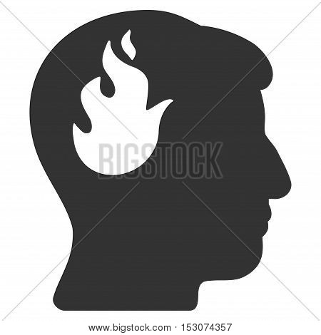 Brain Fire glyph pictograph. Style is flat graphic symbol, gray color, white background.