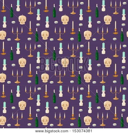 Burning wax old vintage candles and skull vector illustration seamless pattern. Cartoon candle on background. Traditional holidays candles and skull face seamless pattern isolated vector.
