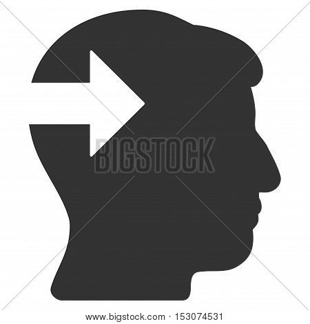 Head Plug-In Arrow glyph pictogram. Style is flat graphic symbol, gray color, white background.