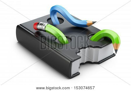 The book worms in the form of pencils eating textbook. 3d illustration on a white background.