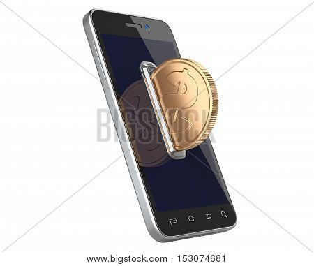 Mobile payment concept with coin acceptor and smartphone. 3D illustration isolated on white background.