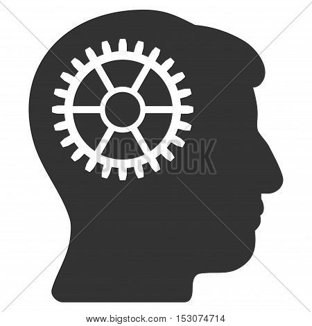 Intellect Cog glyph pictogram. Style is flat graphic symbol, gray color, white background.