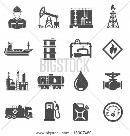 Oil industry extraction production and transportation oil and petrol Black Icons Set with oilman, rig and barrels. Isolated vector illustration.