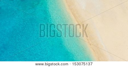 Aerial photo of empty beach in panoramatic view