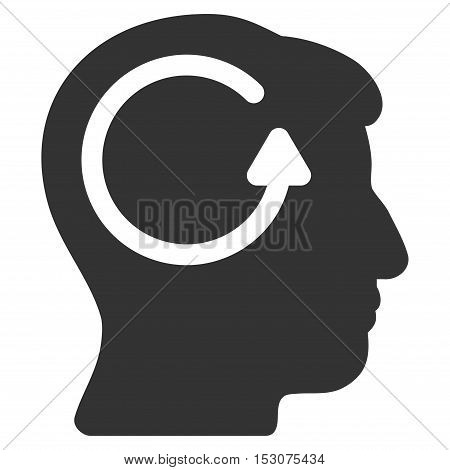 Refresh Head Memory glyph icon. Style is flat graphic symbol, gray color, white background.
