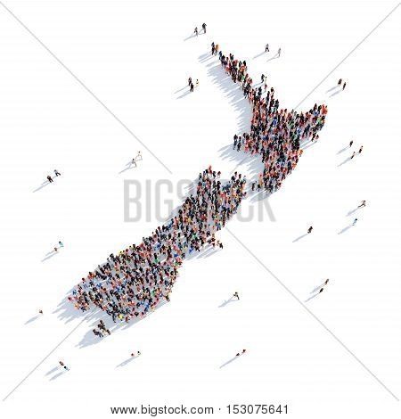 Large and creative group of people gathered together in the form of a map New Zeland , a map of the world. 3D illustration, isolated against a white background. 3D-rendering.