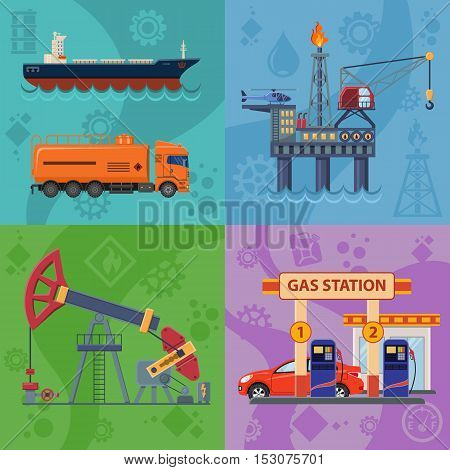 Oil industry Square Banners with Flat Icons extraction production and transportation oil and petrol with gas station, rig and barrels. vector illustration.