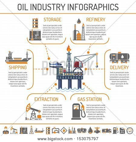 Oil industry extraction production and transportation oil and petrol Infographics Two Color Icons Set with oilman, rig and barrels. Isolated vector illustration.