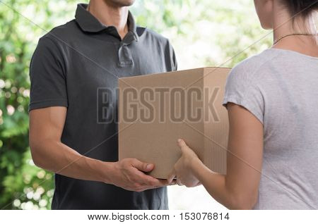 Woman and courier during order transfer. Woman accepting delivery from deliveryman. Cropped image of delivery service worker giving parcel to client.