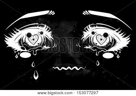 Crying beautiful eyes in anime or manga style with teardrops and light reflections. Highly detailed vector illustration. Emotional expression, sadness, tattoo art. Trendy print.
