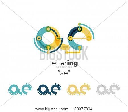 Letter logo business linear icon on white background. Alphabet initial letters company name concept. Flat thin line segments connected to each other.
