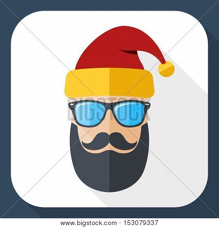 Silhouette Of Santa Claus With A Cool Beard, Mustache And Glasses In Flat Style With Long Shadow