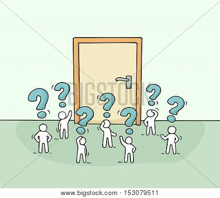 Cartoon working little people with big door. Doodle cute miniature scene of workers about opportunity. Hand drawn vector illustration for business design.