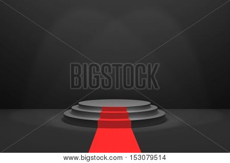 3D Rendering : illustration of stage with red carpet for awards ceremony. Black round podium. First place.3 steps empty podium on black room background and lighting drop from top.for advertising your product or present a product