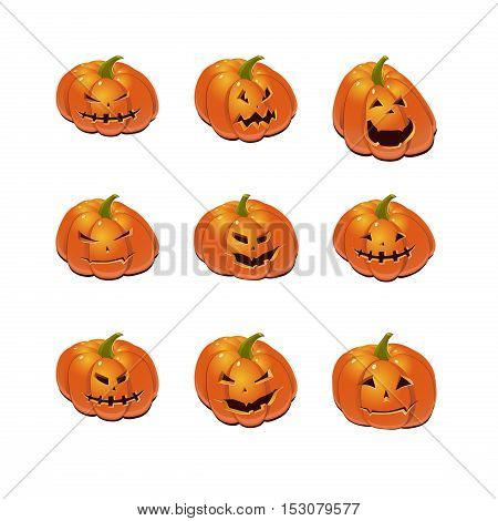 Halloween set with scary Jack-O-Lantern pumpkins. Vector icon collection.