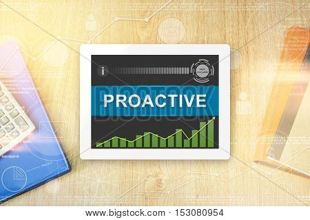 proactive word on tablet with soft light vintage effect