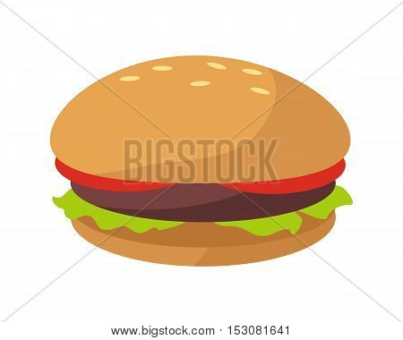 Hamburger icon in flat. Burger with meat, lettuce and tomato. Burger or sandwich, fast food. Consumption of high calories nourishment fast food. Meal and snack burger on white background