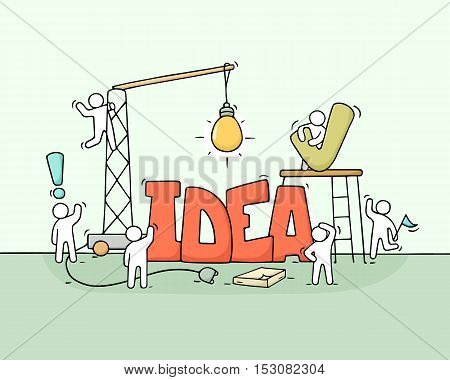 Cartoon working little people with word Idea. Doodle cute miniature scene of workers about creativity. Hand drawn cartoon vector illustration for business design.