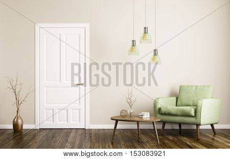 Modern Living Room Interior With Door And Armchair 3D Rendering