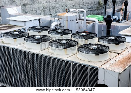 Industrial Heating Ventilation And Air Conditioning Recuperator At Building Roof.