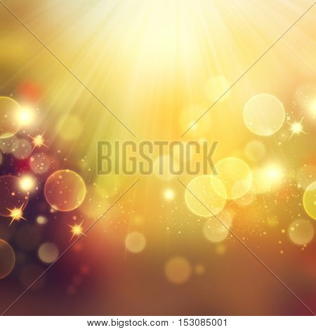 Golden Abstract Bokeh Background. Thanksgiving Blurred yellow and brown Background. Holiday backdrops with stars