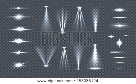 Set of bright lights on transparency. Glow flash fireworks illuminated sparkle. Glow light special effects. Shine explosion spark, flare effect, twinkling rays. Starburst. Vector illustration