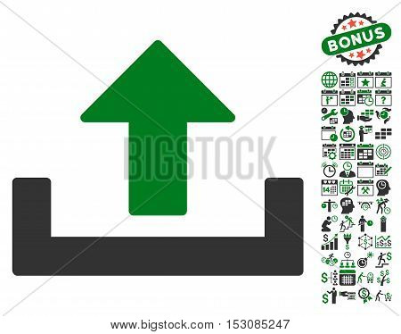 Upload pictograph with bonus calendar and time service icon set. Glyph illustration style is flat iconic symbols, green and gray colors, white background.