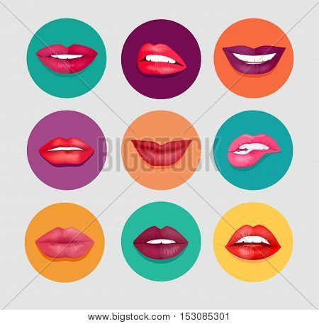 Women lips set. Women lips on round colored background. Set of woman lips in cartoon style for fashion and beauty design. Women lips gestures set. Isolated vector illustration in flat design.