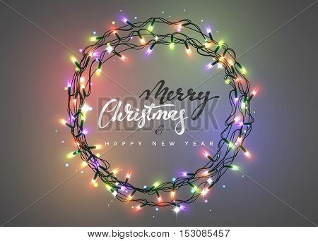 Merry Christmas and happy New Year Lettering label. Glowing Christmas Lights Wreath for Xmas Holiday Greeting Cards Design. Glowing lights Garlands Xmas Holiday greeting card design